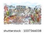 ephesus was an ancient greek... | Shutterstock .eps vector #1037366038