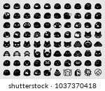 set of emoji. emoji set.... | Shutterstock .eps vector #1037370418
