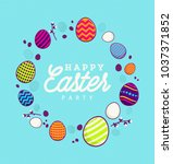 happy easter party background... | Shutterstock .eps vector #1037371852