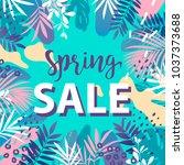 spring sale banner. vector... | Shutterstock .eps vector #1037373688