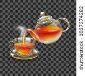 tea. fresh brewed black tea in... | Shutterstock .eps vector #1037374282