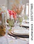 festive table decor. many... | Shutterstock . vector #1037377885