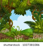 background scene with trees in... | Shutterstock .eps vector #1037381086