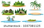 different islands and forest... | Shutterstock .eps vector #1037381125