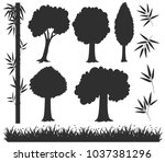silhouette trees and grass... | Shutterstock .eps vector #1037381296
