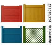 wooden painted fence with... | Shutterstock .eps vector #1037387962