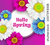 colorful spring background with ... | Shutterstock .eps vector #1037393008