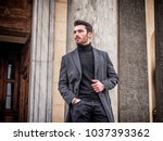 handsome bearded young man... | Shutterstock . vector #1037393362
