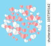 hearts confetti background. st. ... | Shutterstock .eps vector #1037395162