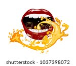 sexy red lips and fresh juice... | Shutterstock .eps vector #1037398072