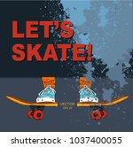 skateboarder on a skateboard.... | Shutterstock .eps vector #1037400055