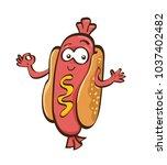 cute hot dog cartoon vector ...   Shutterstock .eps vector #1037402482