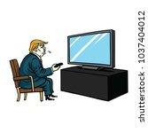 donald trump watching...   Shutterstock .eps vector #1037404012