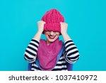close up face portrait of... | Shutterstock . vector #1037410972