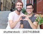 gorgeous homosexual couple... | Shutterstock . vector #1037418868