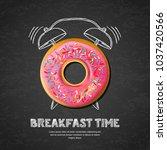 tasty pink glazed donut ... | Shutterstock .eps vector #1037420566
