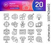 digital marketing line icons... | Shutterstock .eps vector #1037426602