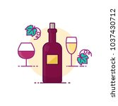 wine vector illustration filled ... | Shutterstock .eps vector #1037430712