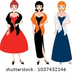 lady in evening gowns   Shutterstock .eps vector #1037432146