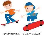 teen boys ride on the... | Shutterstock .eps vector #1037432635