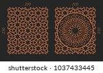 laser cutting set. woodcut...   Shutterstock .eps vector #1037433445