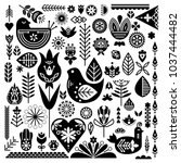 collection of black ethnic... | Shutterstock .eps vector #1037444482