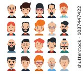 set of 20 flat avatars icons.... | Shutterstock .eps vector #1037447422