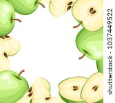 pattern of apple and slices of... | Shutterstock .eps vector #1037449522