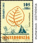 Small photo of BUDAPEST, HUNGARY - MAY 20, 2012: A stamp printed in Hungary shows scouts, leadership training, centenary of the foundation of the Hungarian Scout Association, 2012