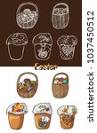 illustration of easter treats... | Shutterstock .eps vector #1037450512
