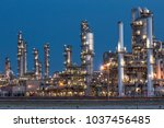 oil refinery industrial... | Shutterstock . vector #1037456485