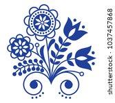 scandinavian folk art ornament... | Shutterstock .eps vector #1037457868