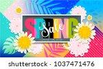spring sale banner. limited... | Shutterstock .eps vector #1037471476
