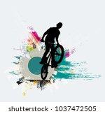 bicycle jumper  sport background | Shutterstock .eps vector #1037472505