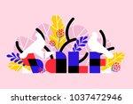 sale banner with white birds... | Shutterstock .eps vector #1037472946