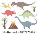 set of dinosaurs including... | Shutterstock .eps vector #1037476426