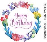wildflower cactus flower wreath ... | Shutterstock . vector #1037490112