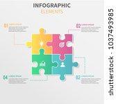 puzzle piece infographics... | Shutterstock .eps vector #1037493985