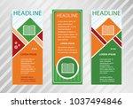 book icon on vertical banner.... | Shutterstock .eps vector #1037494846