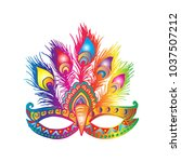 carnival mask with feathers | Shutterstock .eps vector #1037507212