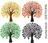 four oak with yellow  red and... | Shutterstock .eps vector #103751996