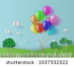 colorful balloons float over... | Shutterstock .eps vector #1037532322