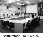 people in meeting room  blur... | Shutterstock . vector #1037536252