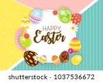 happy easter cute background... | Shutterstock . vector #1037536672