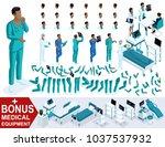 isometric doctor african... | Shutterstock .eps vector #1037537932