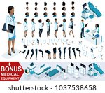 isometric woman doctor african... | Shutterstock .eps vector #1037538658