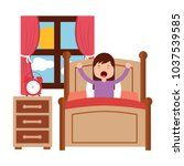 wake up morning the young girl... | Shutterstock .eps vector #1037539585