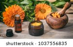 calendula products. essential... | Shutterstock . vector #1037556835