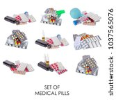 medical set  pills ... | Shutterstock . vector #1037565076