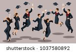 isometrics graduates girls and... | Shutterstock .eps vector #1037580892